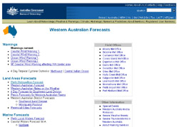 Screenshot of the Bureau of Meteorology website