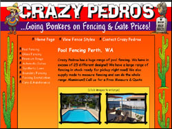 Screenshot of the Crazy Pedros Fencing Perth website