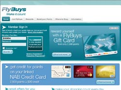 Screenshot of the www.flybuys.com.au, Australia website