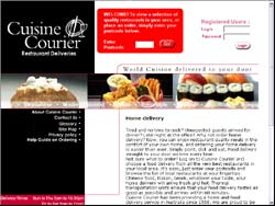 Screenshot of the Cuisine Courier Restaurant Deliveries website