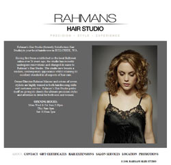 Screenshot of the Rahman's Hair Studio website