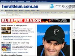 Screenshot of the www.heraldsun.com.au Melbourne website