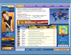 Screenshot of the www.mathletics.com.au, Australia website