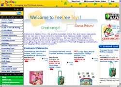 Screenshot of the PeeDee Toy Store Australia website