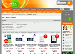 Screenshot of the oo.com.au Electronics Department website