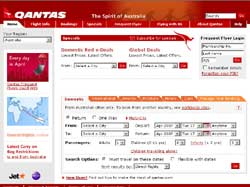 Screenshot of the qantas.com.au Qantas Airways website