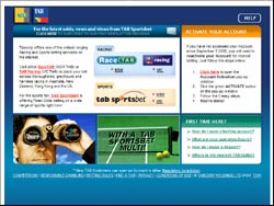 Screenshot of the www.tab.com.au, Australia website