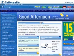Screenshot of the www.tattersalls.com.au Online Lotto website