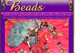 Screenshot of the Unique Beads Australia website