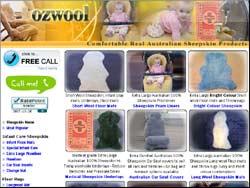 Screenshot of the OzWool Sheepskin Wool Items website