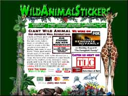 Screenshot of the Wild Animal Stickers website