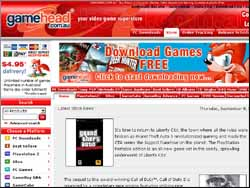 Screenshot of the Game Head Computer Games website