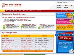 Screenshot of the OzLotteries Australia website