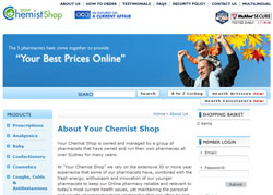 Screenshot of the Your Chemist Shop Australia website